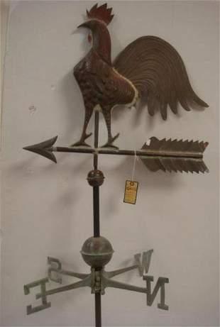 Vintage Molded Copper Rooster Weather Vane: