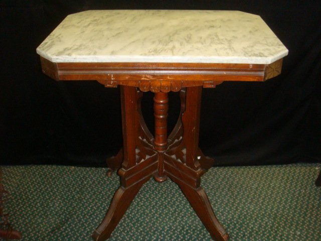 Eastlake Walnut Marble Top Side Table