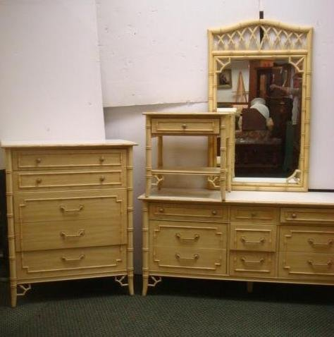 """4Pc """"Allegro"""" by THOMASVILLE Faux Bamboo Bedroom Set:"""