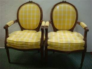Pair of Antique French Style Open Arm Chairs: