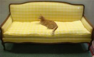 Walnut Molded Framed Domed Back Sofa: