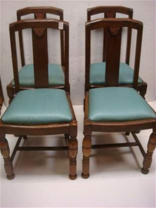 Four Arts and Crafts Oak Side Chairs: