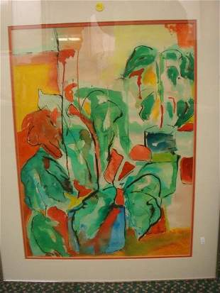 Sgnd L. Cohen Watercolor of Abstract Plants in Vases: