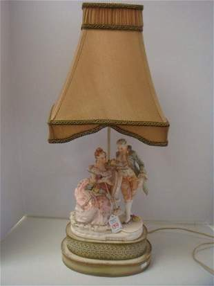 Porcelain Figural Lamp with Shade: