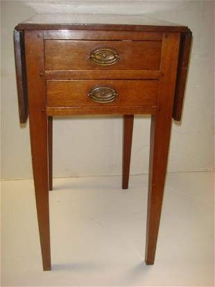 Pair of Pembroke Drop Leaf 2 Drawer End Tables: