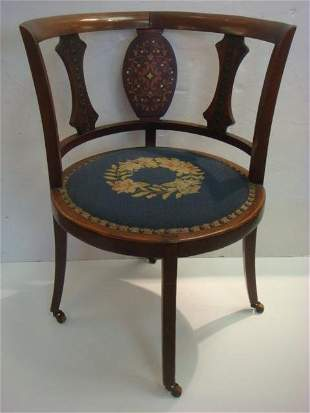 19th C. Corner Chair with Marquetry Inlay: