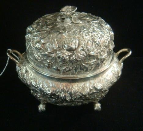 S.E.WARNER Coin Silver Repousse Covered Butter: