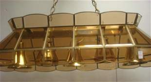 Quality Brass and Beveled Glass Billiard Table Lamp:
