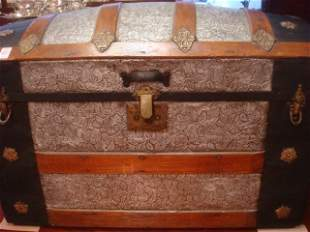 19th C. Fancy Dome Top Trunk with Pressed Tin: