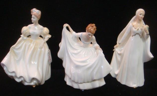 "3 Ceramic ROYAL DOULTON ""Ladies in White"" Figurines:"