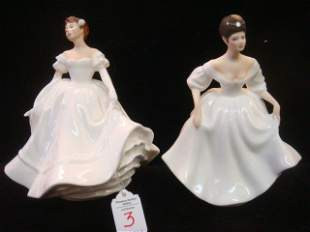 "Two Ceramic ROYAL DOULTON ""Ladies in White Figurines"":"
