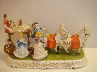 Porcelain Coach and 4 Horses with Colonial Figures: