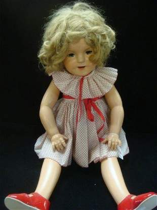 """IDEAL 27"""" COMPO SHIRLEY TEMPLE DOLL CA 1930'S:"""