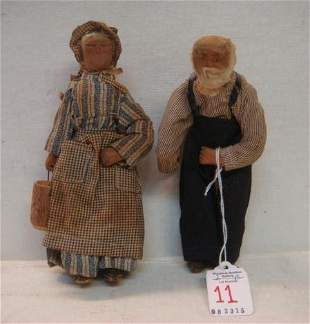 Hand Carved Wooden Folk Art Amish Dolls: