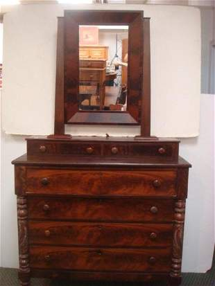 Early 19th C. Walnut 6 Drawer Chest with Mirror: