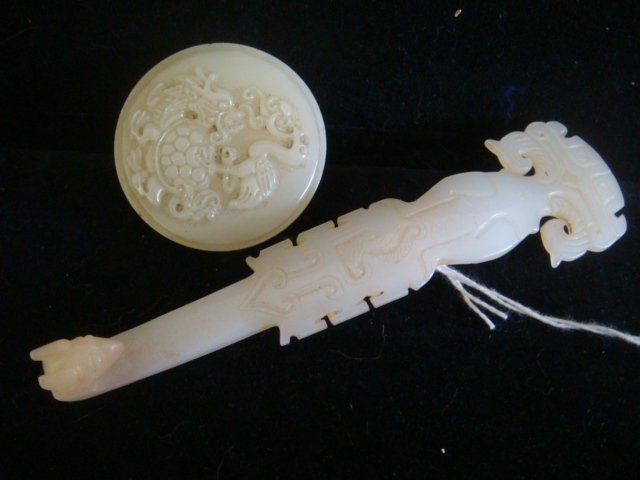 Two Carved WHITE JADE Chinese Belt Buckles: