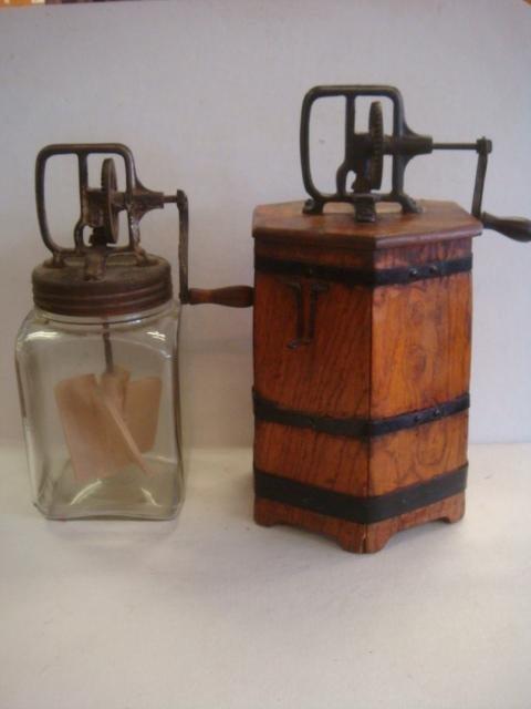 DAZEY Glass and Hexagonal Wooden Butter Churns: