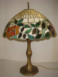 Tiffany Style Table Lamp with Gold Metal Base: