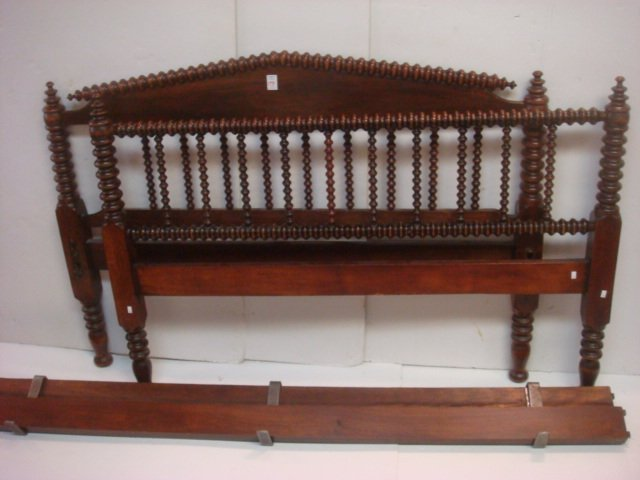19thC. Full Size Jenny Lind Spool Bed with Rails:
