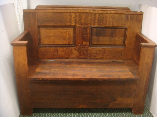 19th C. Oak Hall Bench with Storage: