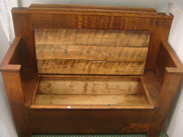 19th C. Oak Hall Bench with Storage: - 2