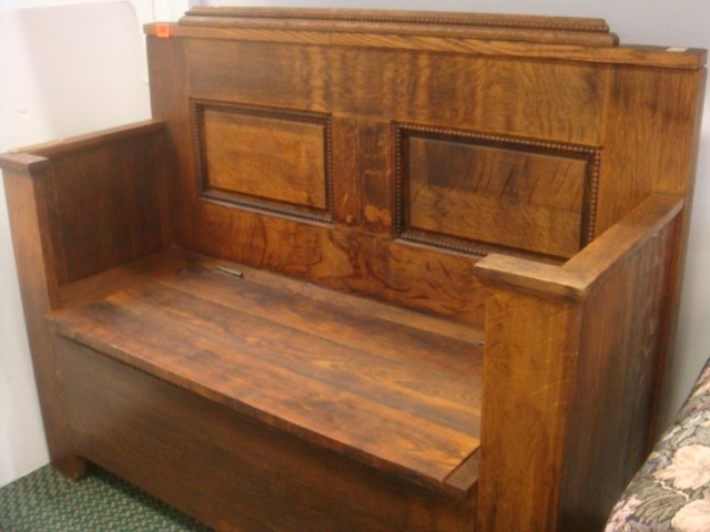 19th C. Oak Hall Bench with Storage: - 3
