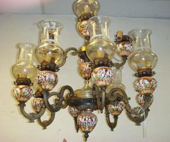 Twelve Light Italian CAPODIMONTE Chandelier: