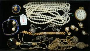 Collection of Vintage Jewelry, Watch, Lorngette, More: