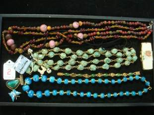Vintage Costume Jewelry and Pill Box: