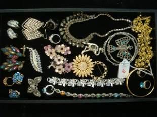 Vintage Costume Earrings, Pins, Bracelets, Necklace: