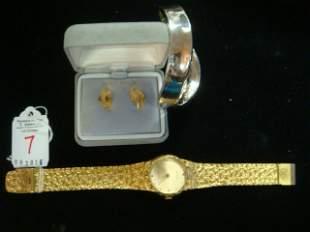 Sterling Bangle, 14kt Gold Earrings, Dress Watch: