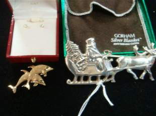14Kt Gold Earrings & Dolphin Pin, Sterling Ornament: