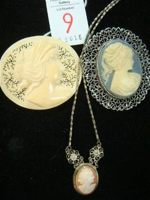Three Cameo Pins and Necklace: