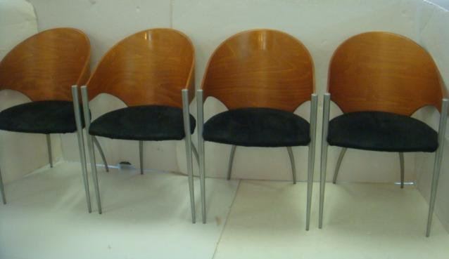 4 CATTELAN Italia Wood Bow Back Steel Frame Chairs:
