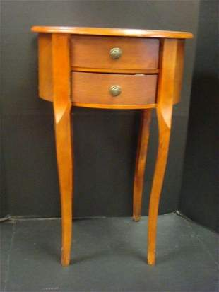Petite Oval Two Drawer Side Table: