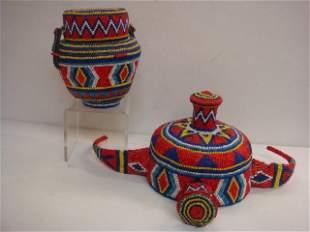 Tibetan Ceremonial Beaded Hat & Basket, Early 20th C: