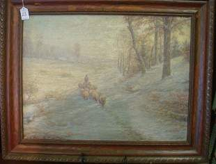Sheep Herder Oil on Canvas Signed CHARLES A WATSON: