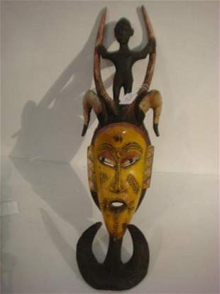 African Funeral Mask with Rams Horns:
