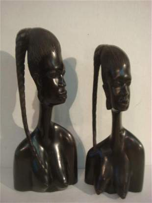 Two Carved EBONY African BENIN Tribal Female Busts: