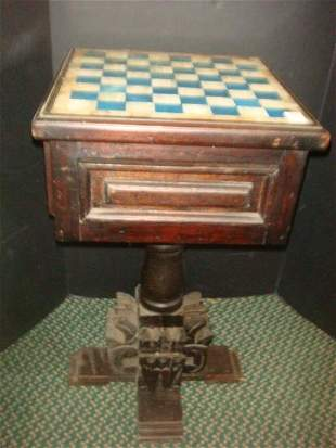 Hand Carved Wooden Mexican Chess Table: