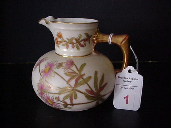 1: 19th C. Royal Worcester Cream Ware Pitcher: