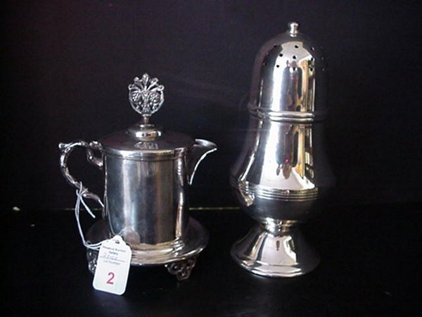 2: Silverplate Individual Teapot & Castor: