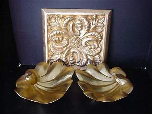 3 Wooden Gold Wall Tiles and 2 Wooden Bowls