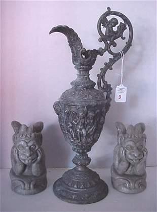 Spelter Urn and 2 Chalk Gargoyles