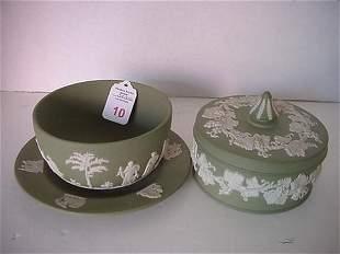 4 Green Jasperware Wedgwood Bowl, Plate & Box