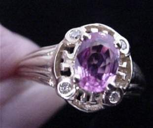 10KT Gold Pink Sapphire and Diamond Ring