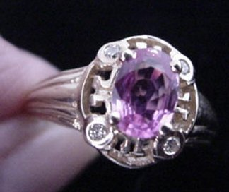 11: 10KT Gold Pink Sapphire and Diamond Ring: