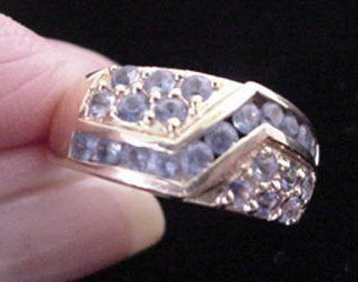 14KT Gold Ring with Channel Set Sapphires