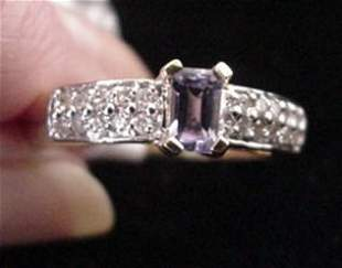 14KT Gold with Tanzanite and Diamond Ring