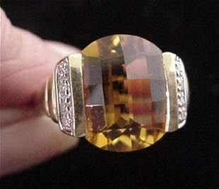 Yellow Citrine and Diamond Ring in Yellow Gold